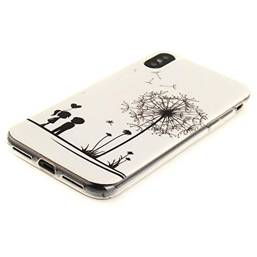 Cover Per iPhone X, Sunrive Case Custodia in molle Ultra Sottile morbido TPU silicone Morbida Flessibile Pelle Antigraffio protettiva(TPU ragazza sexy) TPU amante