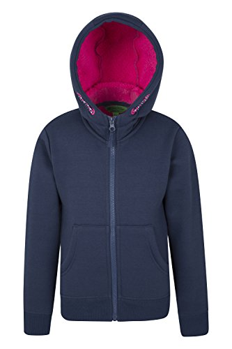 Mountain Warehouse Alpine Fur Lined Kids Hoodie - Fleece Lined, Warm, Full Zip, Kangaroo Pocket - isotherm Heat retention Technology - For Everyday Use & Camping Trips Navy 13 Years
