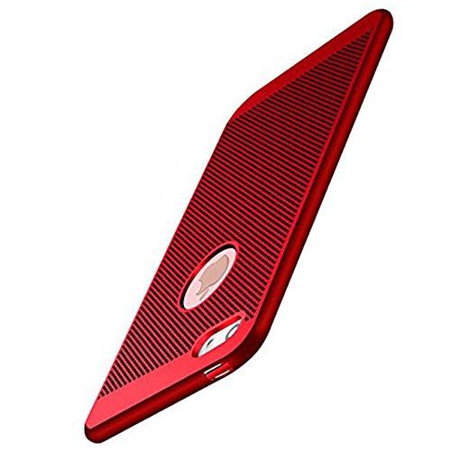 iPhone 5/5S/SE Hülle Ultra Dünn Mesh Design Wärmeableitung Stoßfest Hartcase Schutzhüllen für Apple iPhone SE 4.0 zoll (Rot)