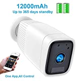 Wireless Battey Powered Security Camera,1080P CCTV IP Security Camera,Motion Detect,Night Vision,IP66 Waterrproof,12000mAh Battery,2-Way