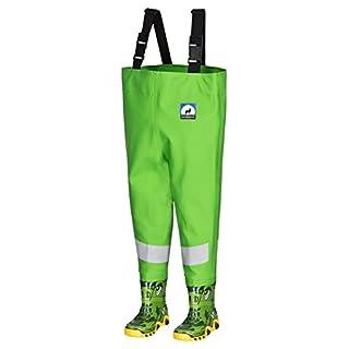 Kinderwathose AWN 26/27 grün mit breiten Reflexstreifen