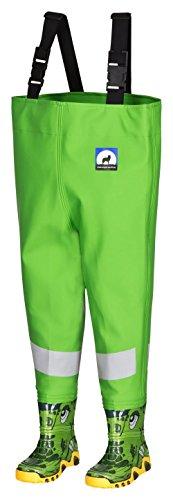 Kinderwathose AWN grün Gr. 34/35 mit breiten Reflexstreifen