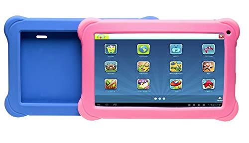 Denver Kinder-Tablet (Quadcore Prozessor, 1 GB RAM, Android 8.1 GO Edition) Schwarz mit 2 farbigen Schutzhüllen