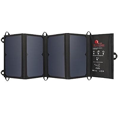 1byone 24W Faltbares Solarladegerät mit 2 USB Anschlüssen, Tragbare, effiziente Solarzellen fürs Aufladen von iPhones, iPads, Andrioid Smart Phones und allen USB Geräten, Schwarz