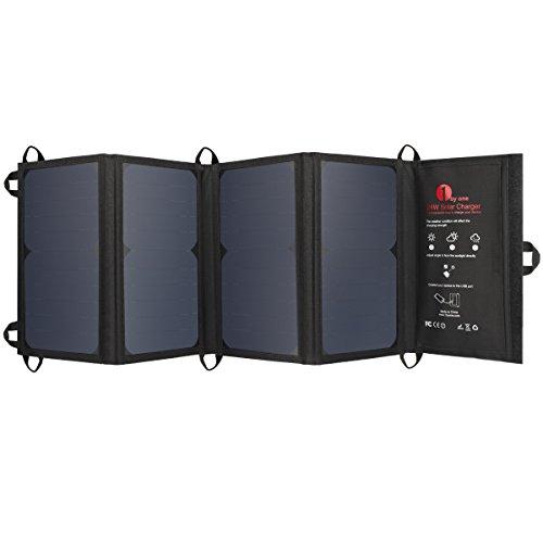 1byone Cargador solar 24W con 2 puertos USB,panel solar portátil altamente eficiente en iPhone, iPad, Samsung, smartphones, tablets, dispositivos USB y más, negro