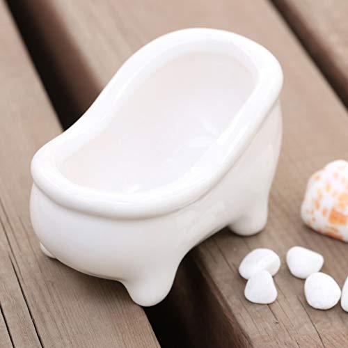 Seba5 Home Weißes Porzellan Petite Französisch Landhausstil Klaue Fuß Badewanne Vintage Blumentopf Pflanzer/Seifenschale (Size : 8 * 4.5 * 4.5cm)
