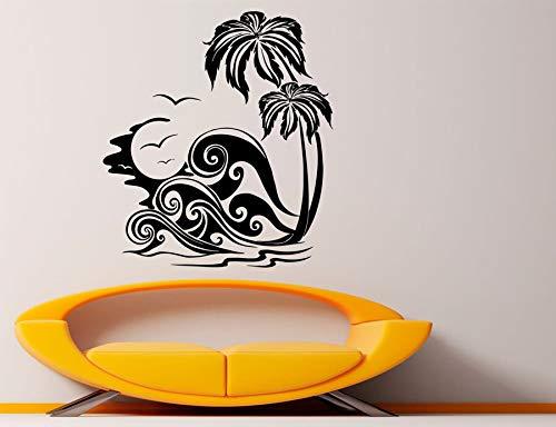 zqyjhkou Strand Meer Palme Applique tropischen Welle wandaufkleber Bad wandkunst Aufkleber Vinyl Hause raumdekoration mural50.4x56.4cm -