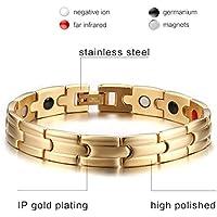 Magnetisches Armband aus Titan und Edelstahl, vergoldet, Hämatit-Gesundheitsarmband, Weihnachtsgeschenk, Valentinstagsgeschenk preisvergleich bei billige-tabletten.eu