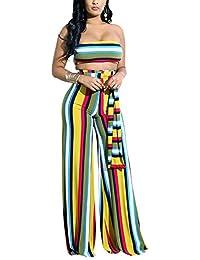 0884ec794 LCWORD Correa Casual De Poliéster para Mujer A Rayas 2 Piezas Damas  Tricolor S-XL