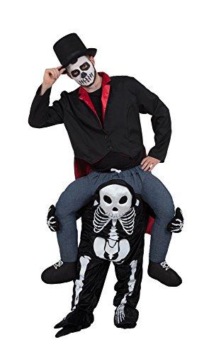 Bristol Novelty AF003 Huckepack Skelett Kostüm, Weiß