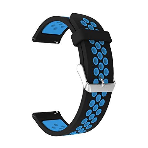 Knowin Uhrenarmband Ersatz Silikon Uhrenarmband für Samsung Galaxy Watch Active Silikon Sportgurt (Knopfversion) Metallschnalle, Zweifarbiger Silikongürtel mit Rundem Loch