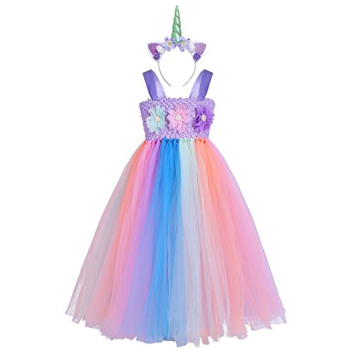 (Tiaobug Mädchen Einhorn Kostüm Set Prinzessin Kleid + Blumen Haarband Haarreif für Kinder Weihnachten Verkleidung Karneval Party Halloween Festkleid Bunt 128-140/8-10 Jahre)