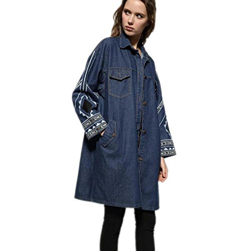 XYLUCKY Das gestickte Denim Windbreaker Oberbekleidung Double Breasted Jacke Aus Denim