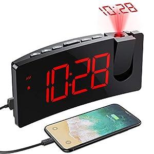 Mpow Wecker Digital, Projektionswecker mit USB-Anschluss, Große 5″ LED Bildschirm, 4 einstellbare Helligkeiten, Ultraklare Rote Ziffern, Einfach zu bedienen, Snooze, Randlos Kurve (Inkl.Adapter)