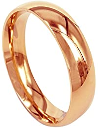 Everstone Men Wedding Band Titanium Ring Dome Shape Polished Anniversary Engagement Ring Rose Gold Valentine's Day Gift 6mm
