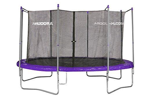HUDORA Fitness Trampolin/Gartentrampolin, mit Sicherheitsnetz, lila/grau, 400 cm, 65406