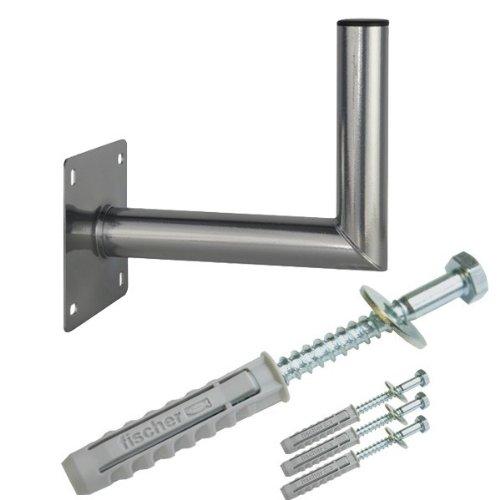 PremiumX 40cm Wandhalter Stahl verzinkt SAT Antenne Wandhalterung Wand Montage Halter Wandabstand 40 cm + Fischer Schraubensatz für Wand Montage -