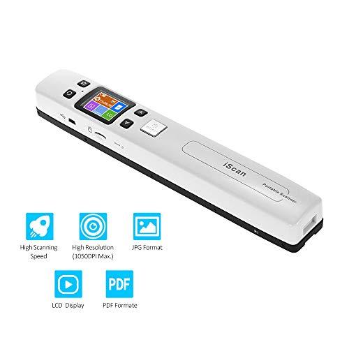 Blusea iScan02 Portable Handheld Wand Dokument/Buch/Bilder Scanner 1050 DPI Auflösung High Speed   Scannen A4 Größe JPEG/PDF-Format Bunte LCD-Display für Office Business Reciepts