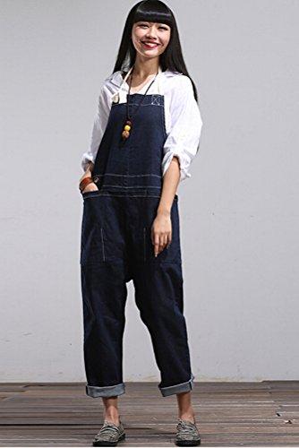 MatchLife Damen Jeans Latzhose Hosen Jumpsuits Style6-Navy Blau