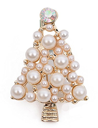 Hosaire Brooch Stylish Elegant Christmas Tree Diamond Pearl Wedding Bridal Pin Brooches For Women Girls Jewelry (Golden)
