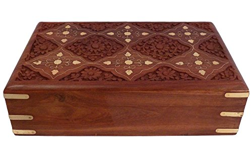 Crafts'man Beautiful Wooden Jewellery Box with Carving design. A beautiful Storage item for jewellery. Wedding Gift. Best Seller (Big Size 10x6 Inch)