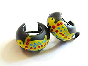 Boucles d'oreilles Créoles Piercing Bois Wooden Earrings salamandre Gecko margouillat