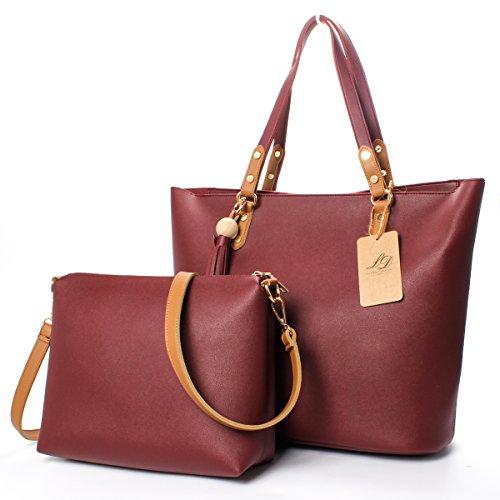 la-desire-pu-casual-shoulder-handbag-commute-tote-satchel-hobo-bag-set-for-women-wine-red