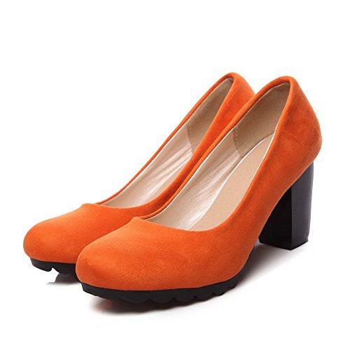 VogueZone009 Femme Suédé Couleur Unie Tire Rond à Talon Haut Chaussures Légeres Orange