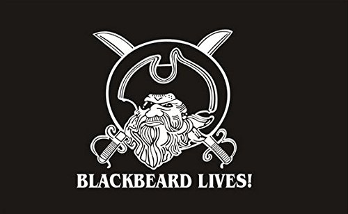 Blackbeard Lives Flagge 5ft x 3ft groß-100% Polyester-Metall Ösen-doppelt genäht -