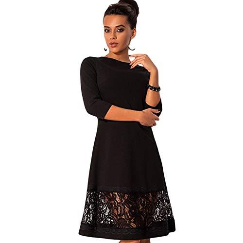 QUNLIANYI Abendkleid Kleid Herbst Frauen Große Größe O-Ausschnitt Langarm Heft Enstichen Spitze Kleid Damen Plus Größe Kleider S Schwarz
