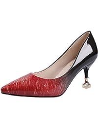 DIMAOL Zapatos de Mujer PU Primavera Otoño Comodidad Tacones Stiletto Talón Exterior Gris Marrón Rojo