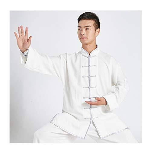 FUYY Tai Chi Kleidung Männer Praxis Kleidung Weibliche Baby Standard Körper Kampfkunst Spiel Kung Fu Kleidung Chinesischen Stil Anzug Kurzarm,White3-XXXXL