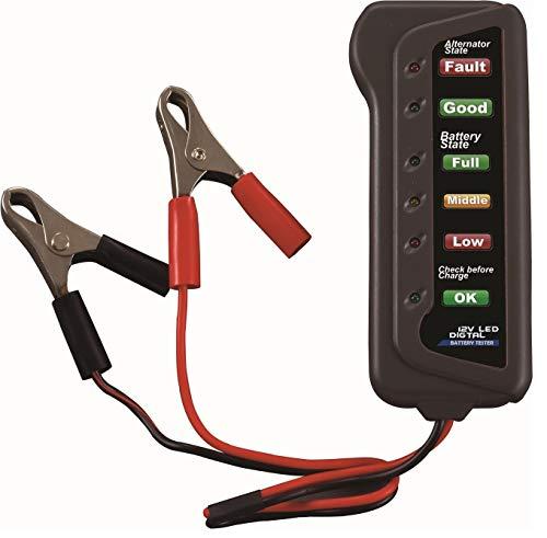 SODIAL Tester per batteria e alternatore per auto a 12V - Verifica condizioni batteria e ricarica dell'alternatore (indicatore LED)