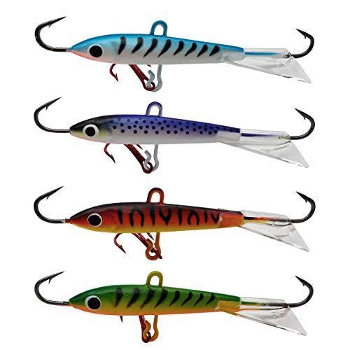 Basstrike Ice Jigs mit Drillinghaken Eisangeln Blei Jig Kits für Bass Forelle Walleye, Typ A -