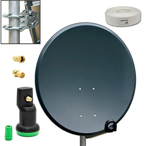 PremiumX Camping Sat Anlage 45cm Schüssel Antenne Spiegel Anthrazit mit Green Diamond Single LNB 4K 10m Sat Koaxialkabel Koax Kabel 2x F-Stecker