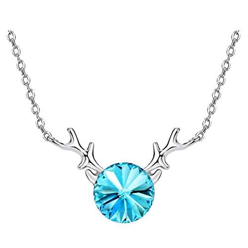 Yishi Collar de Plata de Ley Ciervo con Cristal Azul Joya Original Regalo Mujer Chica con Cristal de Swarovski