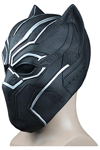 Xiemushop Latex Maske Black Panther Cosplay Maske Schwarz für Herren-Cosplay Mask Rollenspiel