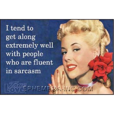 I tend to get along extremely well with people who are fluent in sarcasm. - RECTANGLE MAGNET by Ephemera, Inc