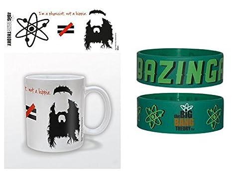 Set: The Big Bang Theory, Je Suis Physicien Pas Hippie, Équasion Tasse À Café Mug (9x8 cm) Et 1 The Big Bang Theory, Bracelet (6x2 cm)