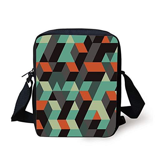 Modern Decor,Geometric Print with Squares Triangles and Shadows Zig Zag Decorative Image,Multicolor Print Kids Crossbody Messenger Bag Purse