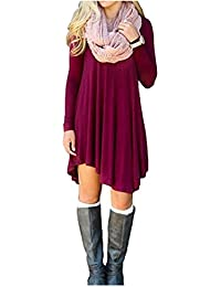 Zarlena Damen Langarm Long Shirt Dress Top Kleid Bluse Cardigan Tunika Stretch Jerseykleid