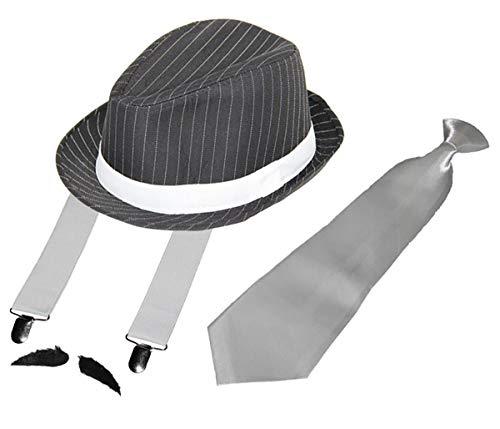 Foxxeo Gangster Set - Hosenträger - Krawatte - Hut - Bart