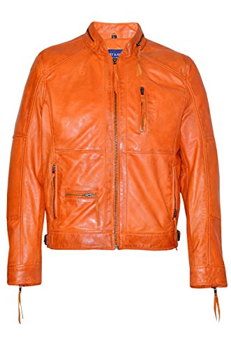 9056 Men's Classic Orange rot ZipCollar Designer Freizeit weichem Leder Orange