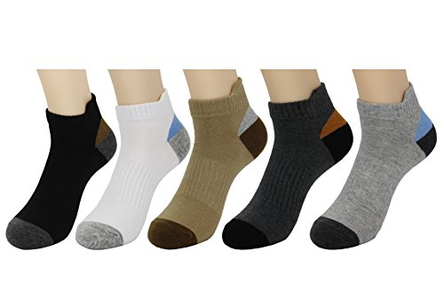 Waymoda 5 Pairs Low Cut Ankle Crew Socks, Outdoor Running Hiking Dancing Trainer Sports Sneaker Sox, 5 Color/Set, Combed Cotton, Unisex Young Men/Women/Boys/Girls UK 1-3/EUR 33-35