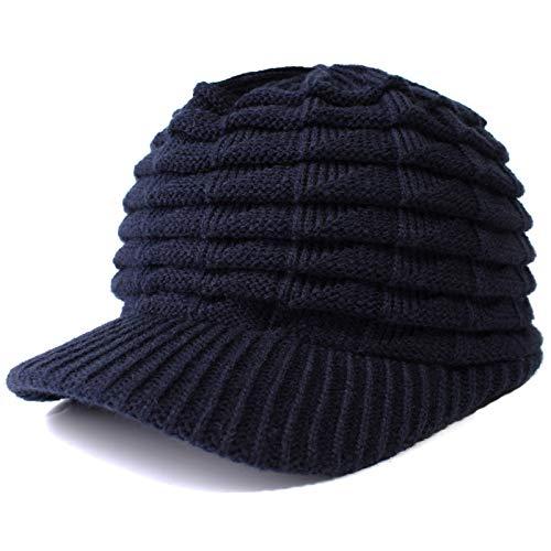 DAMENGXIANG Winter Stricken Warme Kappe Männer Freizeit Mode Einfarbig Hip Hop Stricken Absicherung Schutz Ohr Cap Unisex Visier Hut Marineblau