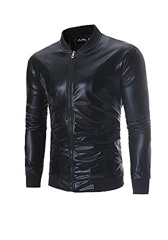Misseurous männer - jacke, helle oberfläche kragen heften (M, schwarz)