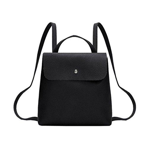 Doppel-zip Herren Aktentasche (QMBER Handtaschen Damen, Damen Doppel-Schultertasche Leder einfach (schwarz))
