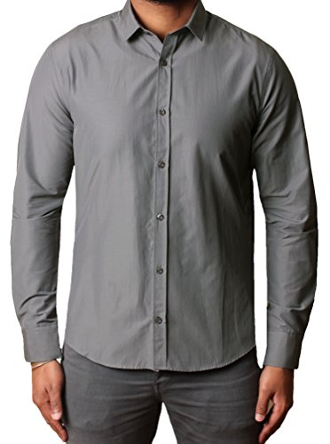 Threadbare - Chemise casual - Col Chemise Classique - Manches Longues - Homme KMU063 Grey