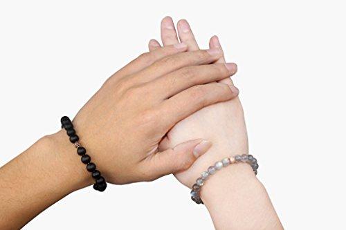 COAI Geschenkideen 8mm Geschliffener Onyx Sonnenstein/Labradorit Strass ein Paar Partner Armbänder für Damen/Herren