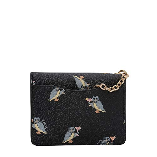 Coach Owl Print Keyring Card Case In Black - Size One